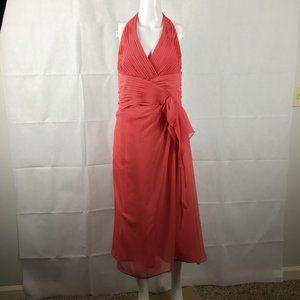 Chiffon Halter Faux Wrap Coral Dress Formal 14